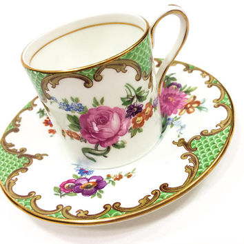 Aynsley Demitasse Set, English Bone China, Cup and Saucer, Pink Yellow Roses, Shabby Chic Decor, Porcelain, Vintage
