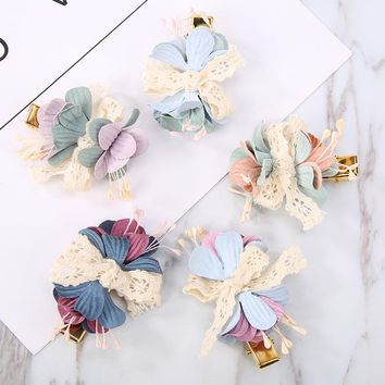 Lace Bow Double Colors Flower Hairgrips Hair Clips for Women Girls Headwear Hair Accessories Fashion Hairpins