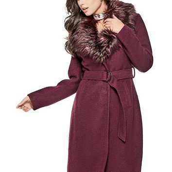 Anna Faux-Fur Collar Coat at Guess