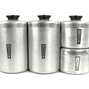Vintage Kitchen Canister Set / Stackable Aluminum 1950s Kitchen Decor / Chrome / Storage and Orginazation