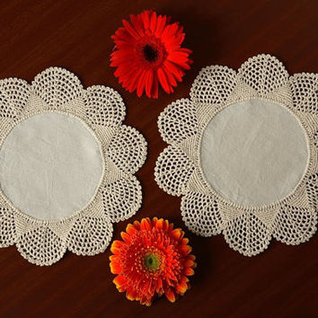 "SET 6 Doilies-  Handmade CROCHET DOILIES - Fabric Crochet Club Design- Round Placemat - Coaster - Natural and White Color - 8"" Inches"