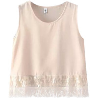 Pink Sequined Sleeveless Blouse with Tassel Hem Detail