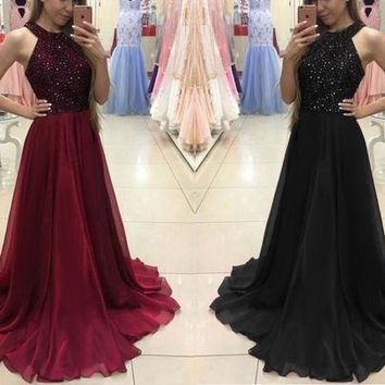 Fashion Women Sequins Sleeveless Round Neck Formal Dress Long Party Ball Gown Ladies Long Maxi Dresses