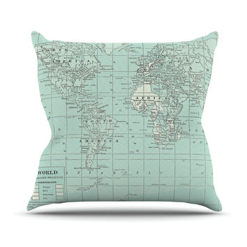 "Catherine Holcombe ""The Old World"" Blue Teal Outdoor Throw Pillow"