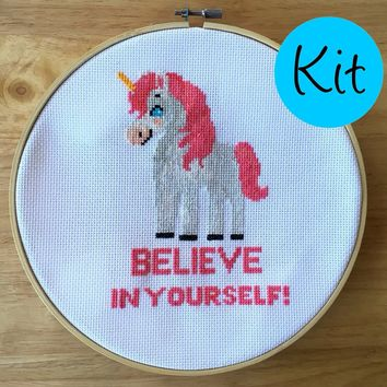 Unicorn Cross Stitch Kit - Geeky Cross Stitch - Believe In Yourself!