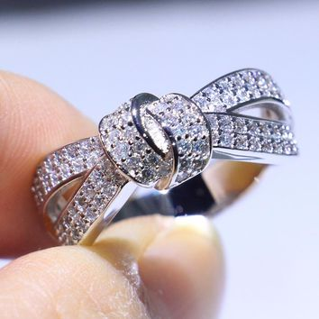 Infinity Brand New Luxury Jewelry 925 Sterling Silver Pave Micro White 5A CZ Eternity Bow Women Wedding Band Ring For lover Gift