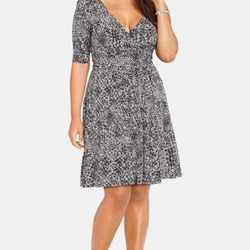Plus Size Women's Lauren Ralph Lauren Print Jersey Wrap Dress,