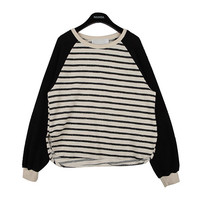 Striped Pullover with Colored Sleeves