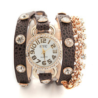Leopard Print Studded Wrap Watch