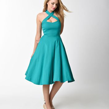 fdcdd180c Unique Vintage 1950s Style Teal Criss Cross Halter Flare Rita Dress