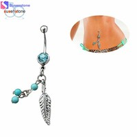 SUSENSTONE Crystal Ball Leaf Dangle Navel Belly Button Barbell Ring Body Piercing