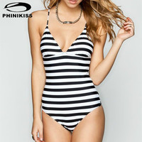 Sexy Backless Strappy Women One Piece Swimsuit Plus Size Large Bodysuit Female Slim Beach Monokini Striped Summer Bathing Suit