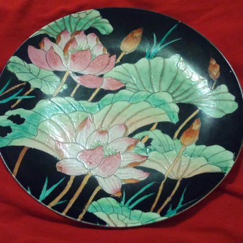 Beautiful Decorative Vintage Chinese Plate With Pink Blossoms and Black Background
