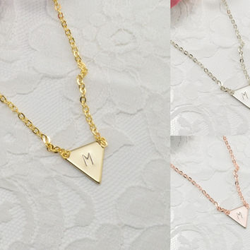 Personalized Triangle Necklace Bracelet Anklet Delicate Hand Stamped Jewelry