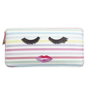 Eyelash Lips Women's Zipper Wallet in Stripe