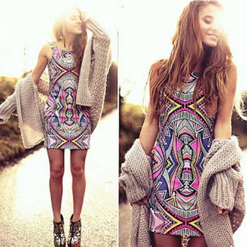 hot round neck print totem dress
