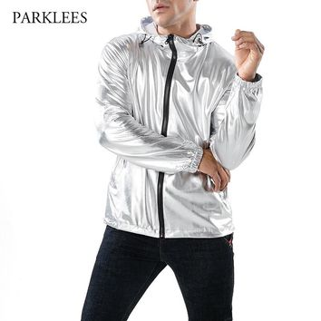 Shiny Silver Metallic Jacket Men Party Dance Night Club Mens Hip Hop Jackets and Coats Slim Hooded Streetwear Jaqueta Masculina