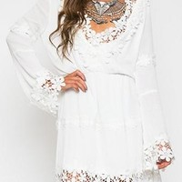 Short And Sweet White Long Bell Sleeve V Neck Floral Lace Trim Elastic Waist Mini Dress