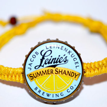 Leinenkugel Summer Shandy Recycled Beer Bottle Hemp Cap Bracelet Yellow Hemp String