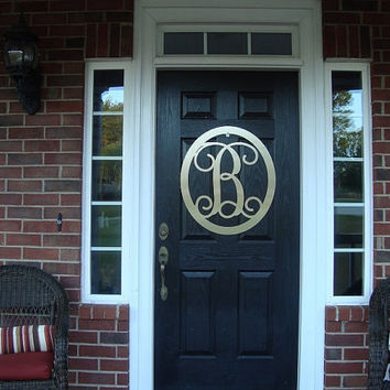 "Monogrammed Door Wreath- 22"" / Monogram Door Hanger/ Metal Monogram /  Personalized Gift/Front Door Wreath/Sign"