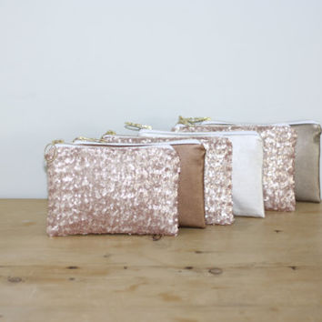 Leather Bridesmaid Gift Set / Bachelorette Favors - Blush Pink Sequins and Champagne, Gold, or Copper Clutch - Choose Quantity and Style