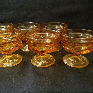 Amber Fostoria Jamestown Thumb Print, 1960's Sherbet Glasses, Dessert Glasses, Set of 6 (1132)