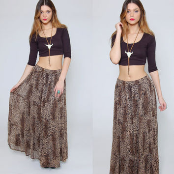 Vintage LEOPARD Print Maxi Skirt Long CRINKLE Skirt Boho Chic Animal Print Broom Skirt by PHOOL
