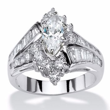3.20 TCW Marquise Cut White Sapphire 925 Sterling Silver Engagement Ring