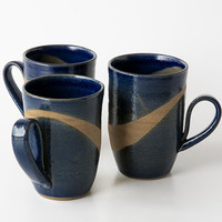 Large Pottery Mugs / Set of Six Ceramic Handmade Mugs / 12 oz Stoneware Coffee Mugs