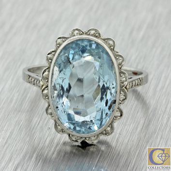 1920s Antique Art Deco Platinum 3.80ct Aquamarine Oval Cocktail Estate Ring