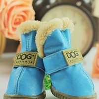 Light Blue Ivory Teddy Fur Lined Waterproof Winter Snow Pet Dog Boots