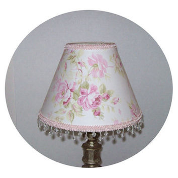 Shabby Chic Pink Rose Lamp Shade by ToileChicBoutique on Etsy