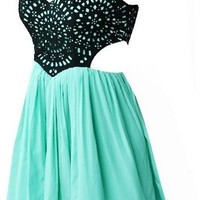Cutout Spring Dresses - Teal