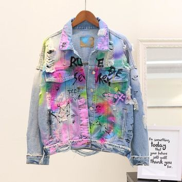 Trendy 2018 Autumn Outfit Denim Coat Women New Harajuku BF Personality Letters Painted Graffiti Hole Jeans Jacket Female Student Coats AT_94_13