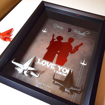Boyfriend Gift, Star Wars I Love You I Know Valentines Day Gift For Him, Anniversary Gift, For Her, 8X10 Shadowbox With 2 X Wing Figures.