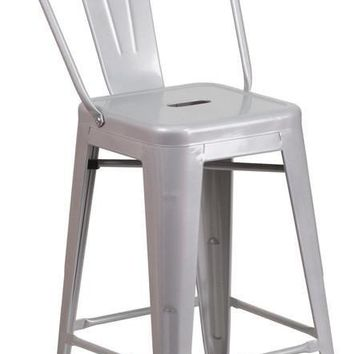 24'' High Metal Indoor-Outdoor Counter Height Stool with Back