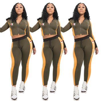 Champion Autumn And Winter Fashion New Embroidery Letter Long Sleeve Top And Pants Two Piece Suit Army Green