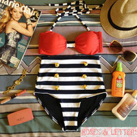Kelly - Retro Vintage Pin Up Handmade Red Black White Stripes High Waist Bikini Swimsuit Swimwear