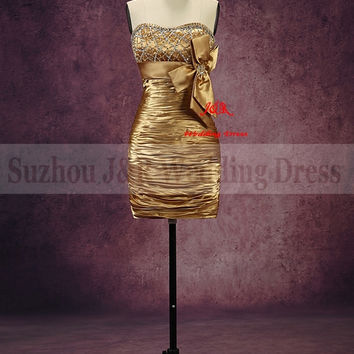Free Shipping 100% Real Sample High Quality Sweetheart Strapless Beading Pleat Satin Mini/short Gold Cocktail Dress