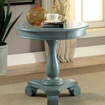 Kalea collection antique teal finish wood round chair side accent table