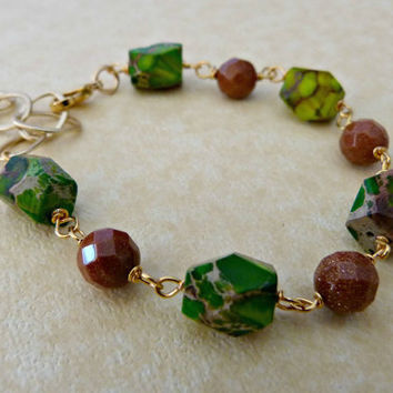 Goldstone and Jasper Gemstone Link Bracelet