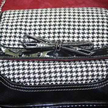Vintage Ladies Handbag,Checkered Black and White