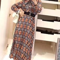 """Tb"" Woman's Leisure  Fashion Embroidery Letter Open Buckle Printing Long Sleeve  Long Skirt Two-Piece Set Casual Wear"