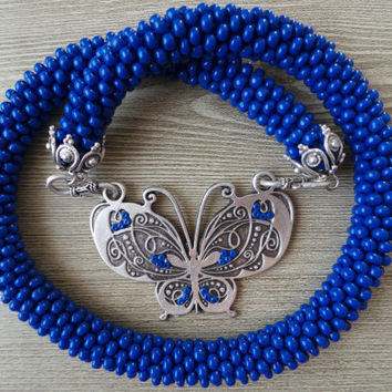 Dark blue big seed beads crocheted necklace,crocheted necklace, butterfly necklace,gift necklace, seed beads necklace