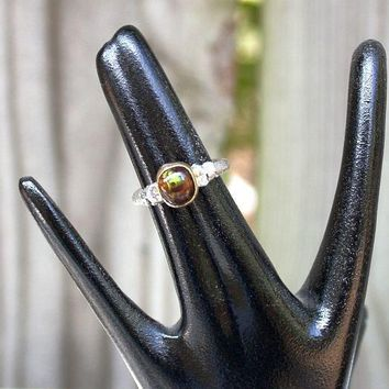 Fire Agate Gold Organic Oak Twig Silver  Jewelry Handmade  Metalwork Ring