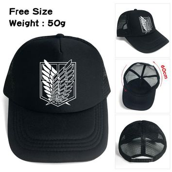 Cool Attack on Titan Anime  Cap Scout Regiment Scout Legion Symbol Black Mesh Cap Trucker Cap Baseball Cap Hat Cosplay Costume Gift AT_90_11