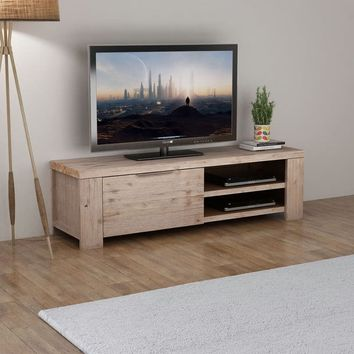 Solid Brushed Acacia Wood TV Cabinet