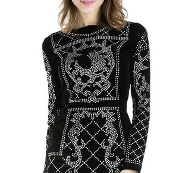 On The Catwalk Black Silver Long Sleeve Round Neck Geometric Rhinestone Studded Bodycon Mini Dress