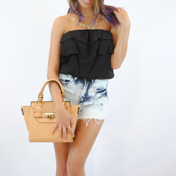(anm) Low back ruffle crop black top