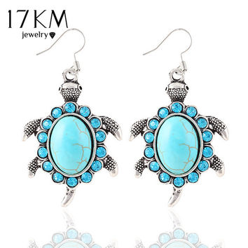 Silver Color Vintage Animals Turtle Brilliant Crystal Turquoise drop earrings jewelry